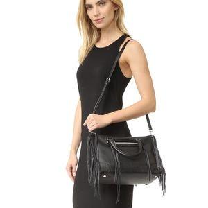 Rebecca Minkoff Black Fringe Regan Satchel Bag